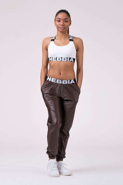 Спортивные штаны с металлическим эффектом SPORTS DROP CROTCH PANTS 529 BROWN